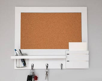Corkboard Pin Board Organiser with Mason Jar and Mail Holder - White - Made To Order