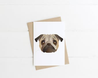 Pug Greetings Card