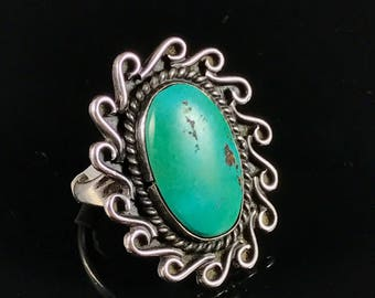 Vintage Native American turquoise sterling silver necklace old pawn ring turquoise ring Native American ring navajo ring size 6.5