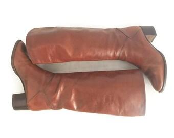 Stivali pelle 1980, Stivali equitazione pelle, Stivali vintage cuoio 1980, stivali donna vtg, Stivali cavallerizza cuoio n 37