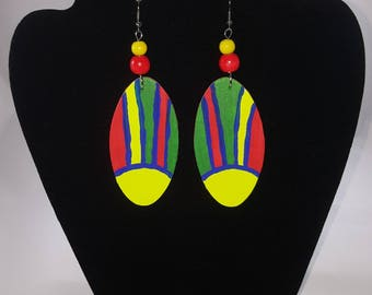 Vibrant Hand painted wooden earrings; Multicolor- yellow, green, blue, red earrings; lightweight earrings