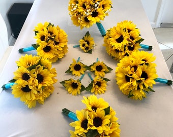 Sunflower wedding etsy customize your package sunflower bouquet aqua sunflower bouquet sunflower bridal bouquet sunflower junglespirit Images