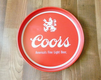 Red Coors Metal Beer Tray, America's Fine Light Beer, Golden Colorado USA