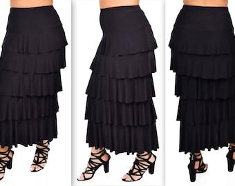 New Waterfall Skirt, Tiered Skier,Designer Skirt, Long Skirt, Plus size Skirt, Travelers Skirt, Party Skirt 1XL,2XL,3XL