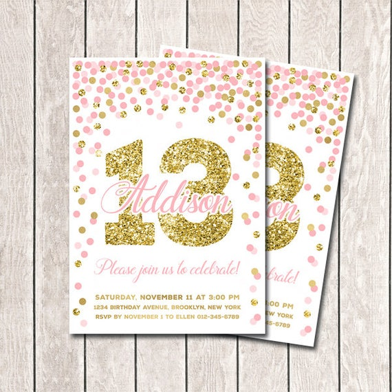 Pink and gold confetti birthday invitation 13th birthday pink and gold confetti birthday invitation 13th birthday invitation girl birthday invitation printable pink and gold confetti birthday party filmwisefo Gallery