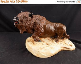July 4th Sale Animal Signed and marked Plastercraft American Buffalo Statue 1976