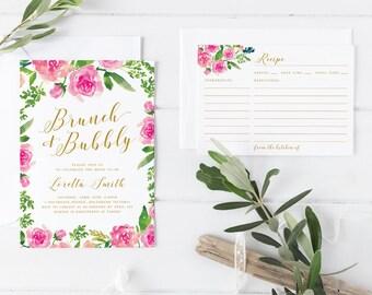 Printable Bridal Shower Invitation Set, Rose Wreath Bridal Shower Invitation Set, Pink Flower Bridal Invitation with matching Recipe Card
