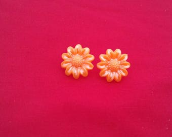 Orange Flower Stud Earrings, Statement Fashion Jewellery, Unusual Floral Stud, Handmade Jewelry Gifts For Her, Boho Studs, Flowery Gifts