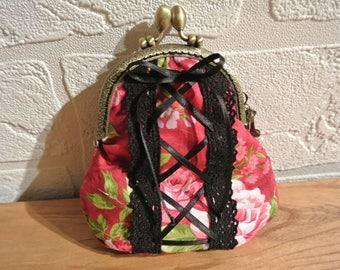 "Wallet ""Corset"" style retro fuchsia bronze clasp"