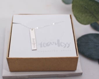 Fearless Sterling Silver Vertical Bar Necklace