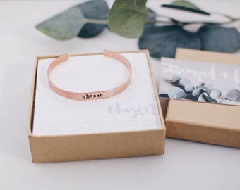 Chosen Copper Stamped Cuff Bracelet