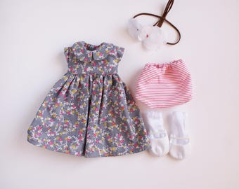 Grey floral doll dress, handmade doll clothes, 18 inch doll clothes, hollys wardrobe, spring doll dress