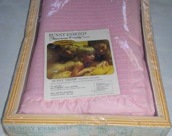 Pink Baby Blanket  Chatham Bunny Esmond Thermal Blanket 40x45 1970s NOS Vintage