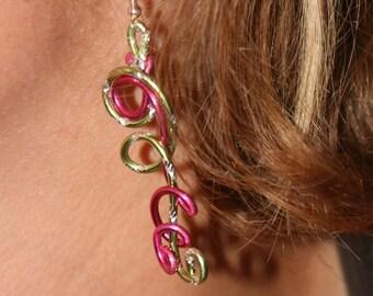 Apple green and fuchsia earrings