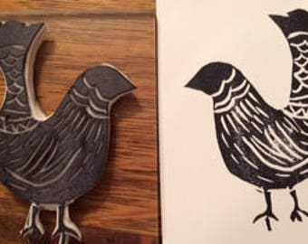 "Hand Carved bird rubber stamp ""Fanny"""