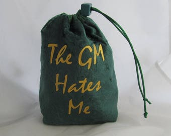 Dice Bag Pouch Velvet Dungeons and Dragons D&D RPG Role Playing Die Green The GM Hates Me Reversible Lined