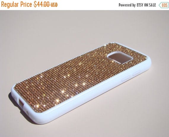 Sale Galaxy S7 Rose Gold Diamond Crystals on White Rubber Case. Velvet/Silk Pouch Bag Included, Genuine Rangsee Crystal Cases.