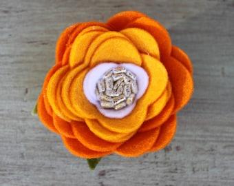 Pumpkin Ombre Felt Flower Crown