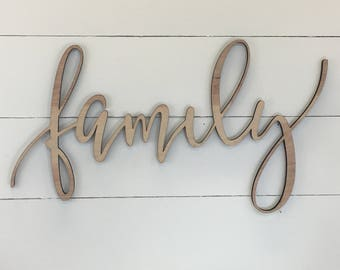 Family Wooden Wall Word Sign, Wooden Word, Wooden Words, Wooden Wood Art,