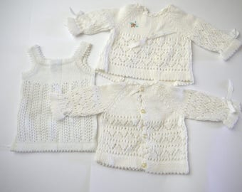 all tops and white VINTAGE 70s baby layette cotton Camisole 3 parts impeccable