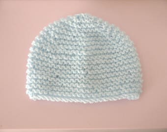 Hat newborn handmade baby boy 0/3 months blue