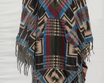 Poncho 2 Button Hood & Pocket Fringe Boho Bohemian 60s Designer Style Hippie Handmade Himalayan Handloomed Yak Wool Blend Shawl 1 Size 9566