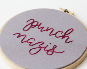 Punch Nazis Antifa Embroidery