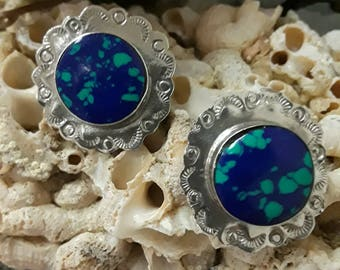 Sterling silver native American Malachi-Azurite stud earrings