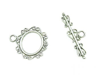 1 x silver plated fancy toggle clasp