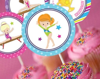 60% OFF Gymnastics Cupcake Toppers, Cupcake Circles, Favor Tags, Party Decorations, Gym, Gymnastics Circles, instant download, matching item