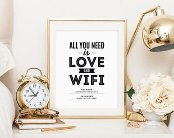 WIFI Password Sign, Wifi password printable, All You Need is Love and Wifi, Guest Wifi, Guest Room Sign, PDF Instant Download #BPB340_D