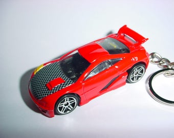 3D Racer custom keychain by Brian Thornton keyring key chain finished in red/carbon racing trim race bling