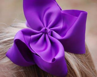 Big Purple Bow - Purple Hair Bow - 6in Hair Bow - Purple Bow - Hair Bow - Boutique Hair Bow - Solid Color Bow - Simple Hair Bow - Purple