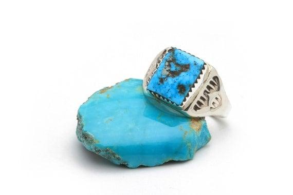 BRAND NEW! Lg Genuine Natural Navajo Handmade Turquoise & Sterling Silver Ring Native American jewelry, bohemian beach wedding.