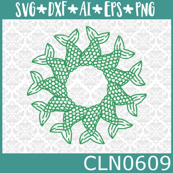 CLN0609 Mermaid Tail Mandala Hand Drawn Monogram Beach Sea SVG DXF Ai Eps PNG Vector Instant Download Commercial Cut File Cricut Silhouette