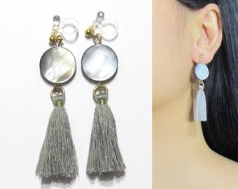 Iridescent White Abalone Shell Coin Dangle Long Clip On Earrings |38E| Boho Gray Tassel Clip Earring, Invisible Clip-ons Non Pierced earring