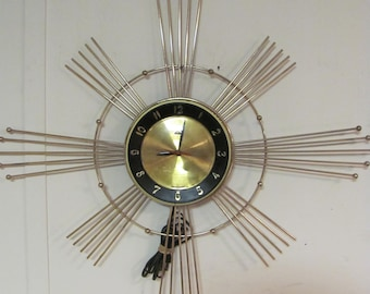 Mid Century Modern Atomic Wall Clock By Lux USA