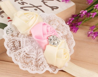 Gorgeous Cream and Pink Lace Diamante Baby Headband