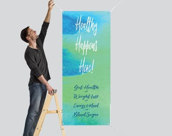 Healthy Happens Here! VERTICAL Banner - 2.5' x 6' - DIGITAL File