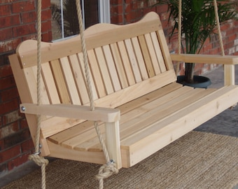 Brand New 6 Foot Cedar Wood Decorative Porch Swing with Hanging Rope - Free Shipping