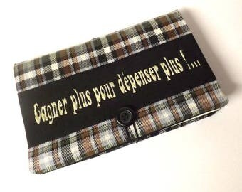 """Carry(wear) checkbook """"Bankine"""" Brown plaid with message"""