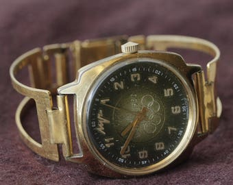 Watch LUCH Olympiad 1980 Russian Gold-plated Wrist Watch USSR 23 Jewels