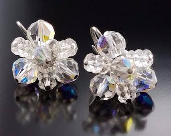 Vintage Crystal Cluster Earrings Snowflake AB Prism Estate 50s Jewelry