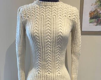 Handmade hand knitted off white cream ladies women jumper sweater with timeless classic design size 8 size small vegan and part recycled