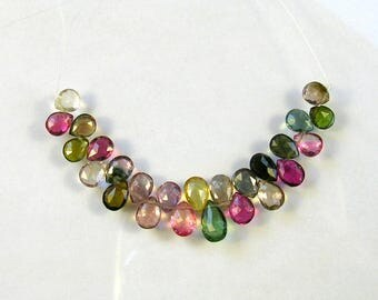 """Multi tourmaline faceted pear beads AAA+ 6-8mm 3"""" strand"""