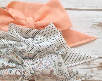 Gorgeous Wrap Trio (3 Gorgeous Wraps)- Apricot, Dottie & Light Peach Floral Gorgeous Wraps; headwraps; fabric head wraps; bows