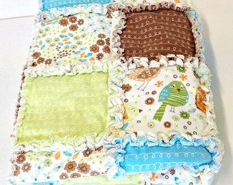 Rag Quilt, Handmade Patchwork Quilt, Reversible Quilt, Flirty Birds, Cot Quilt, Crib Quilt, Tummy Time, Play Mat, Baby Blanket, Newborn Gift