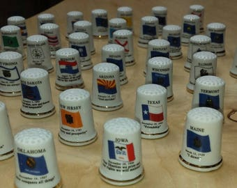 ON SALE Porcelain Thimbles of United States FREE Shipping in the Usa