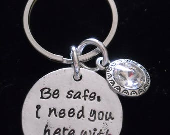 """New~Silver~ KEY RiNG  """"Be safe I need you here with me"""" and sparkling Crystal ~ Many M0RE Options~JW.org~ Gift ~ Intro Price 14.95"""