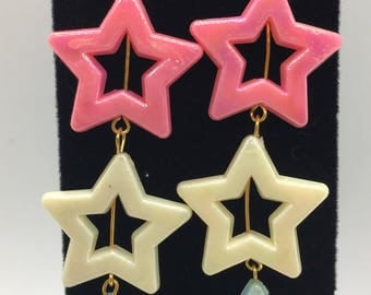 Pearlized Plastic Stars Dangle Earrings, Shimmer Earrings, Star Earrings, Dangle Earrings, Valentine's Day, Valentine's Day Gifts